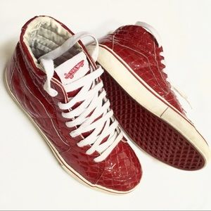 Vans hi top patent croc skate shoes vtg